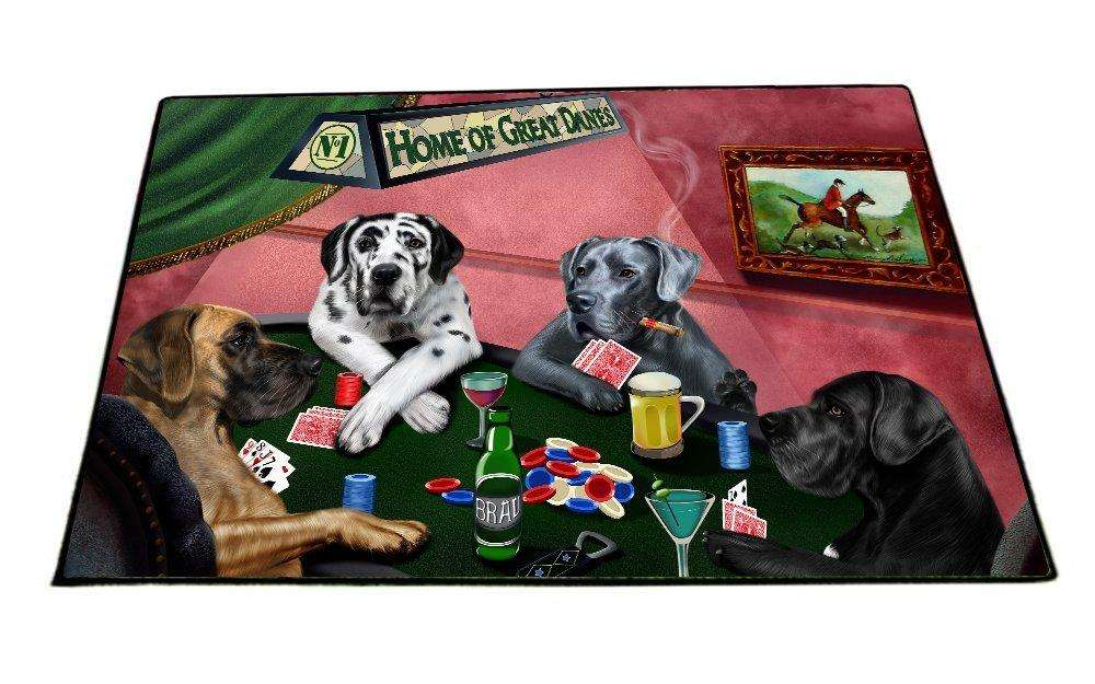 "Home of Great Danes 4 Dogs Playing Poker Floormat 18"" x 24"""