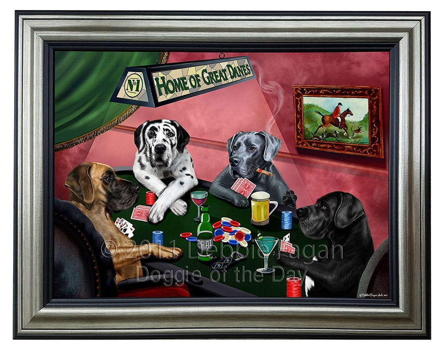 Home of Boxer Dogs Playing Poker Canvas Wall Art