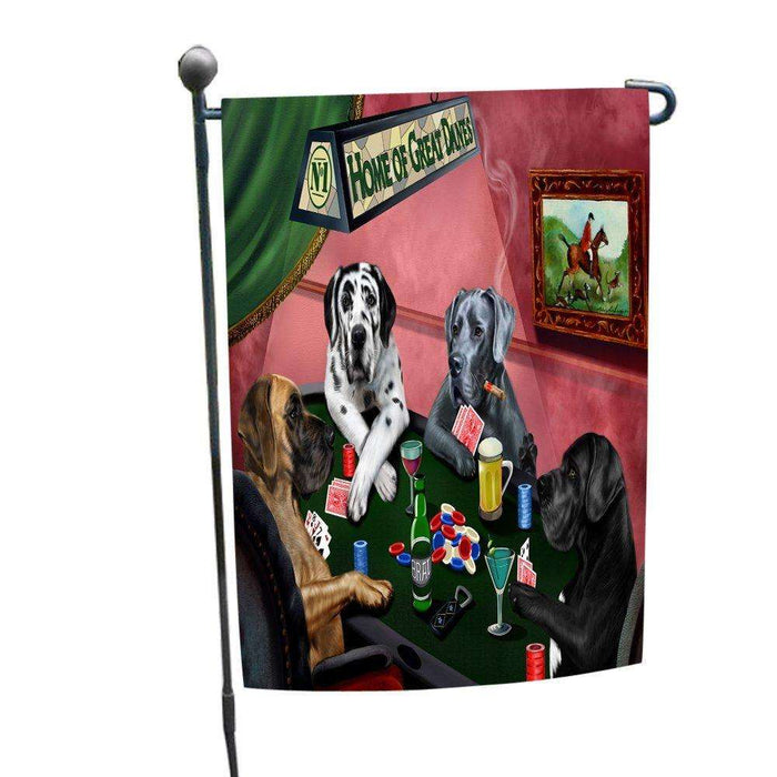 Home of Great Danes 4 Dogs Playing Poker Garden Flag