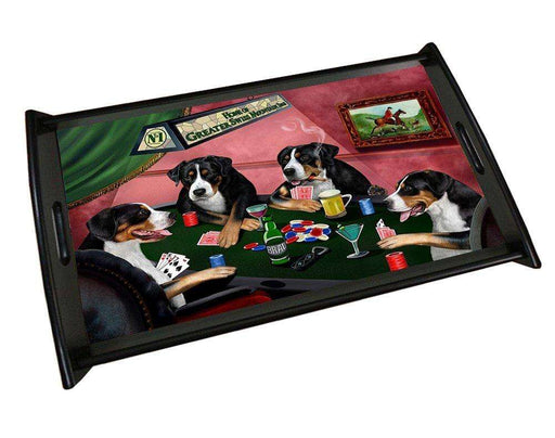 Home of Greater Swiss Mountain 4 Dogs Playing Poker Black Wood Serving Tray
