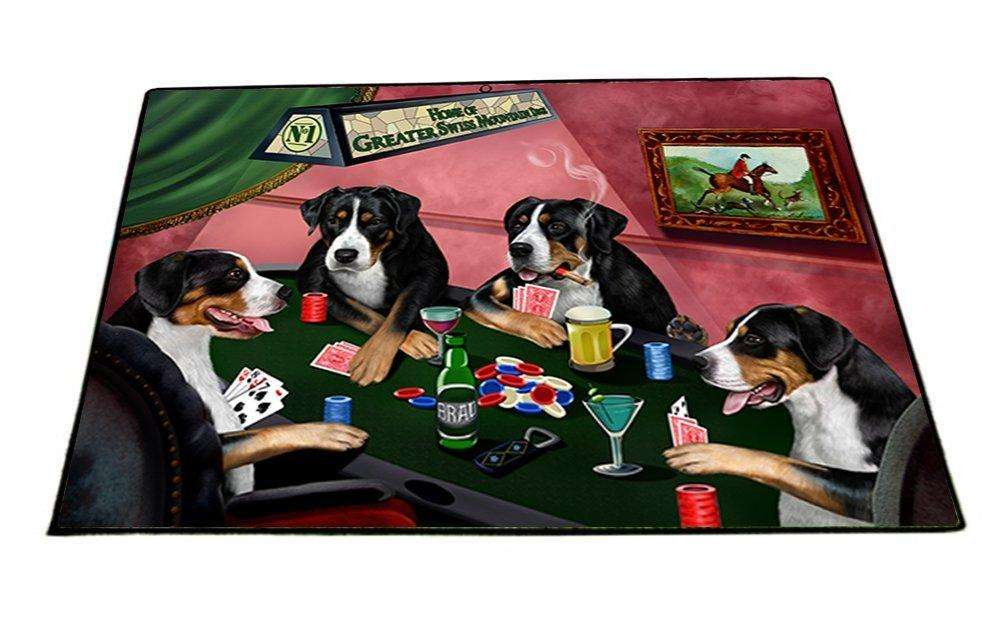 Home of Greater Swiss Mountain 4 Dogs Playing Poker Indoor/Outdoor Floormat