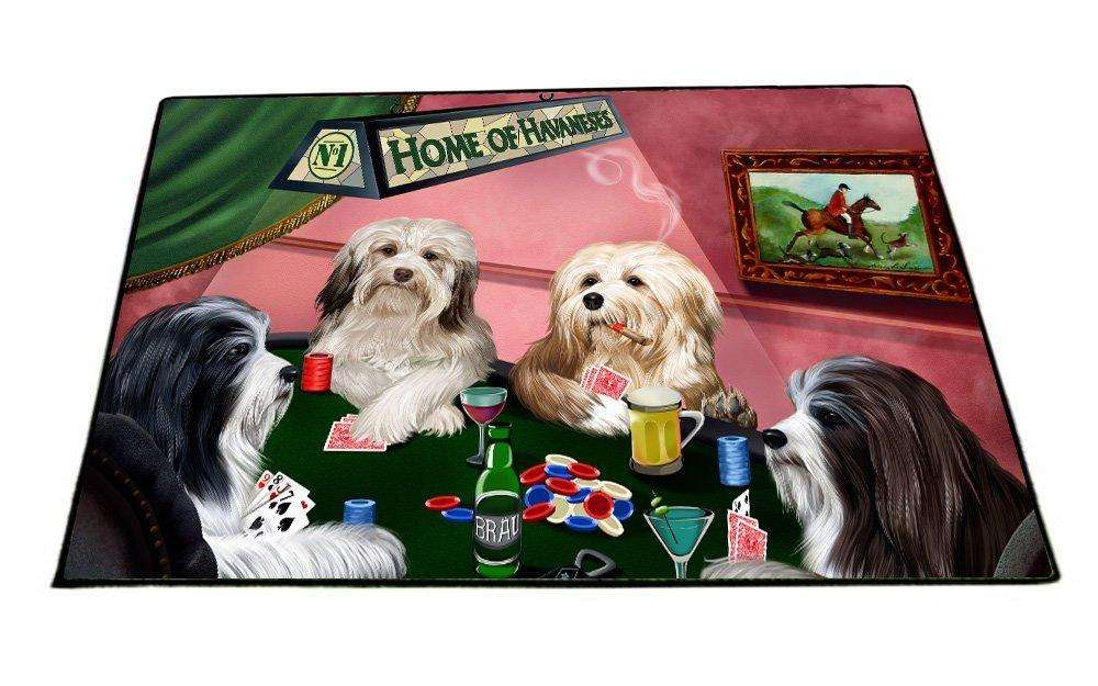 "Home of Havanese 4 Dogs Playing Poker Floormat 24"" x 36"""