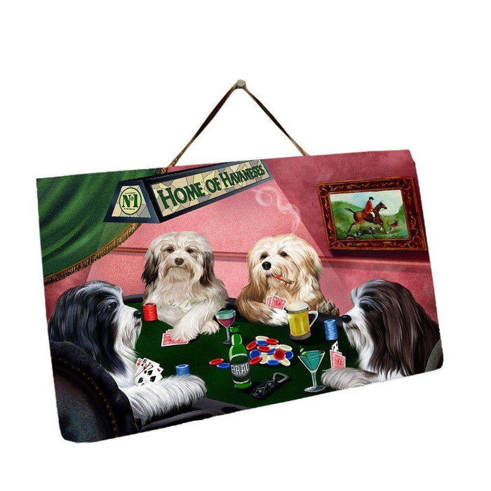Home of Havanese 4 Dogs Playing Poker Photo Slate Hanging