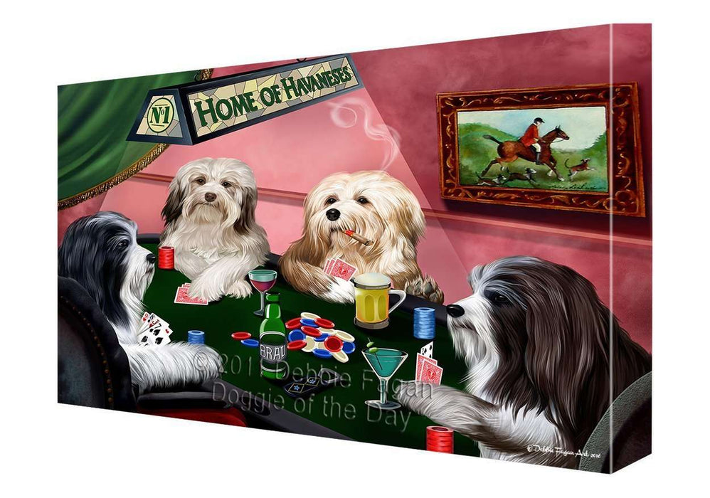 "Home of Havanese Dogs Playing Poker Canvas Gallery Wrap 1.5"" Inch"