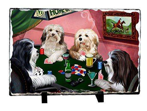 Home of Havanese Four Dogs Playing Poker Photo Slate
