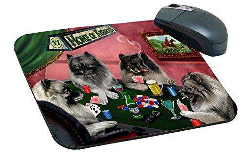 Home of Keeshond Mousepad Four Dogs Playing Poker