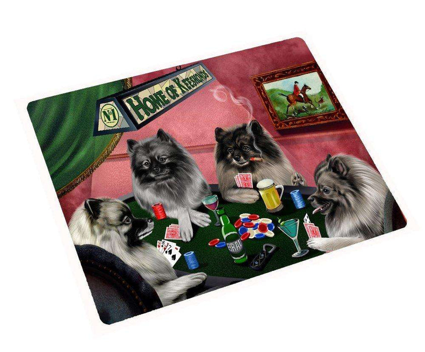 Home of Keeshond Tempered Cutting Board 4 Dogs Playing Poker