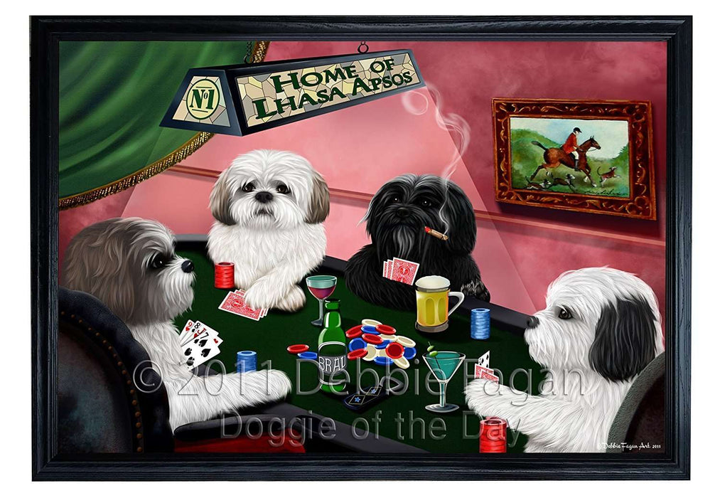 Home of Lhasa Apso 4 Dogs Playing Poker Framed Canvas Print Wall Art