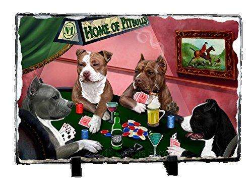 Home of Pit Bull 4 Dogs Playing Poker Photo Slate