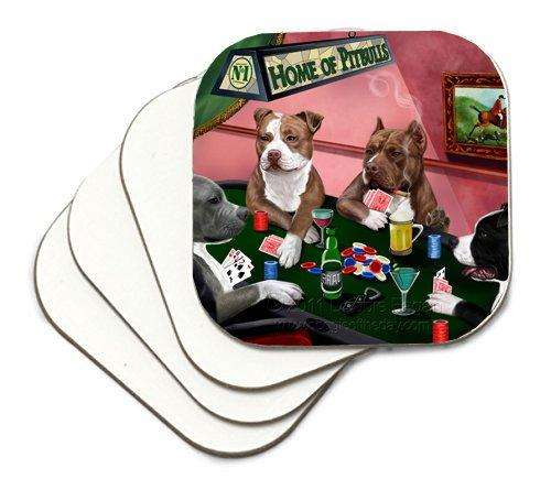 Home of Pit Bulls Coasters 4 Dogs Playing Poker (Set of 4)