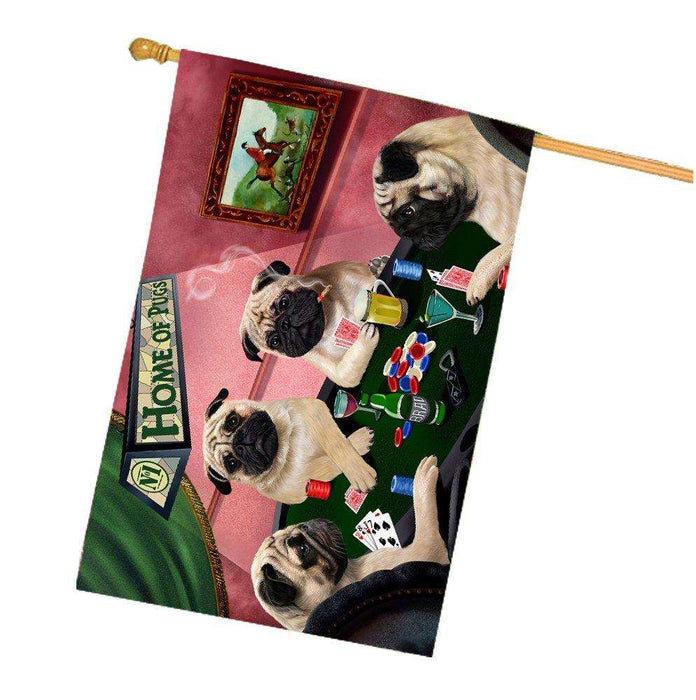 Home of Pugs 4 Dogs Playing Poker House Flag