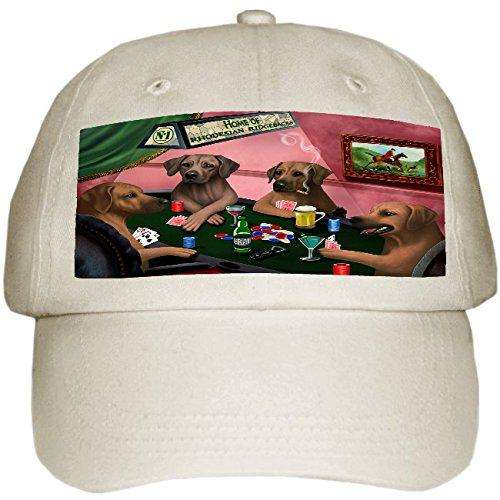 Home of Rhodesian Ridgeback 4 Dogs Playing Poker Hat Off White