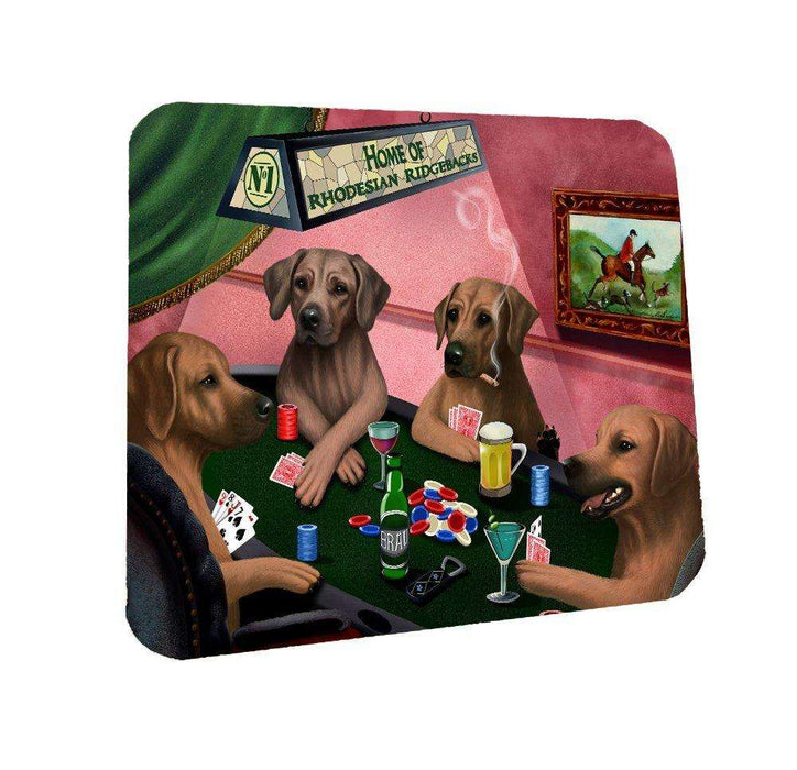 Home of Rhodesian Ridgeback Coasters 4 Dogs Playing Poker (Set of 4)