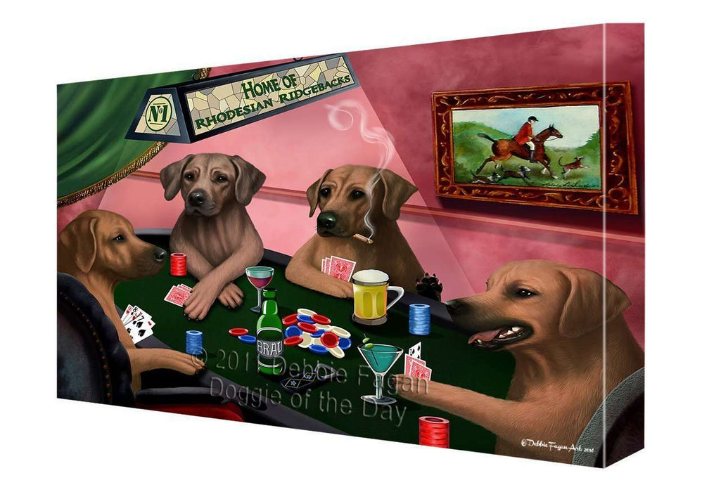 "Home of Rhodesian Ridgeback Dogs Playing Poker Canvas Gallery Wrap 1.5"" Inch"