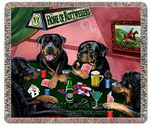 Home of Rottweiler Woven Throw Blanket 4 Dogs Playing Poker 54x38