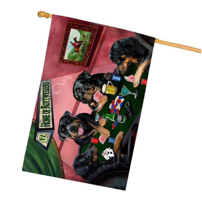 Home of Rottweilers 4 Dogs Playing Poker House Flag