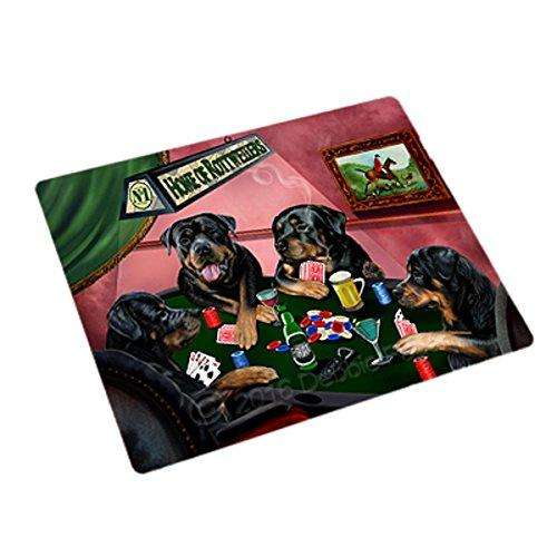 Home of Rottweilers 4 Dogs Playing Poker Magnet
