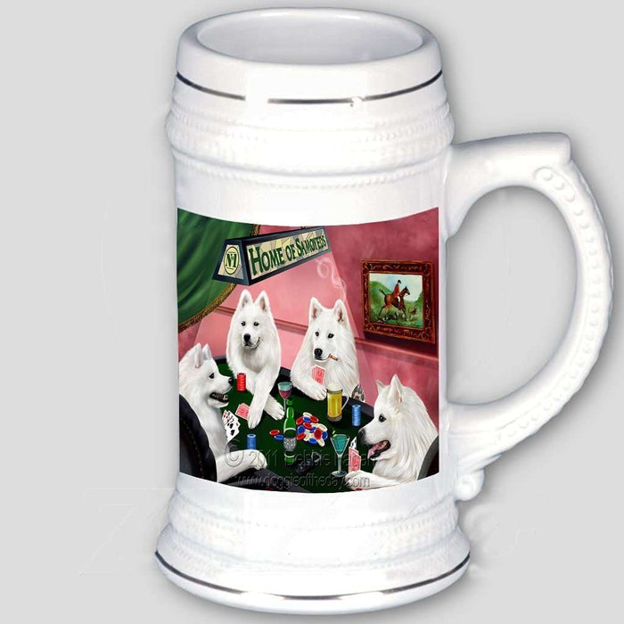 Home of Samoyeds 4 Dogs Playing Poker Beer Stein