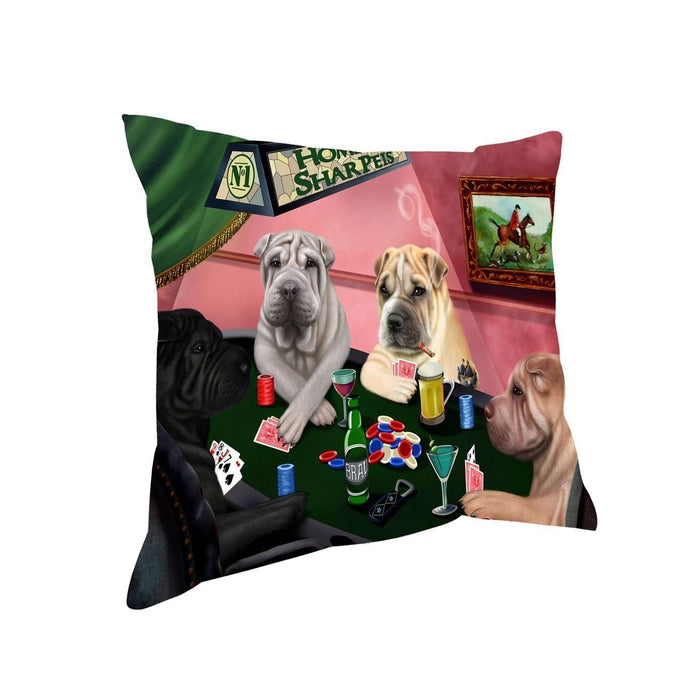 Home of Shar Pei 4 Dogs Playing Poker Throw Pillow