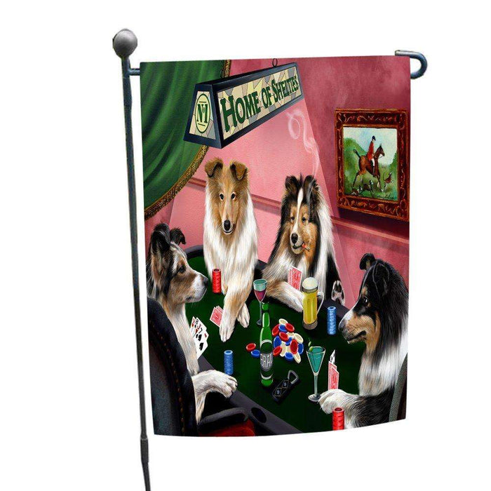 Home of Shelties 4 Dogs Playing Poker Garden Flag