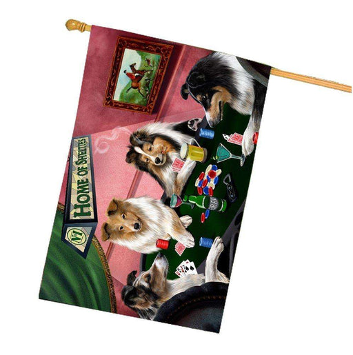 Home of Shelties 4 Dogs Playing Poker House Flag