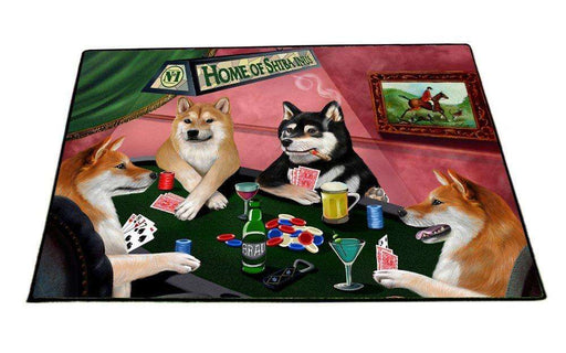 "Home of Shiba Inu 4 Dogs Playing Poker Floormat 18"" x 24"""