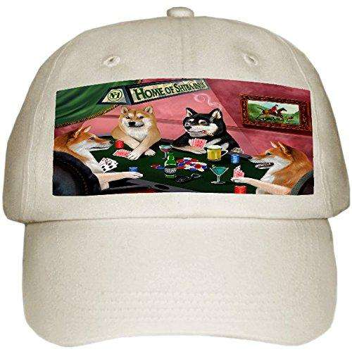 Home of Shiba Inu 4 Dogs Playing Poker Hat Off White
