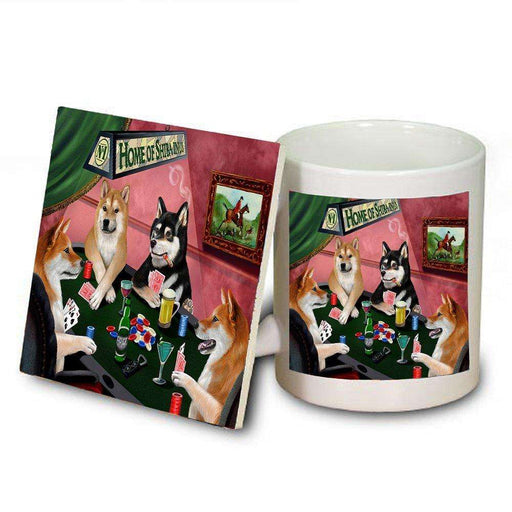 Home of Shiba Inu 4 Dogs Playing Poker Mug and Coaster Set