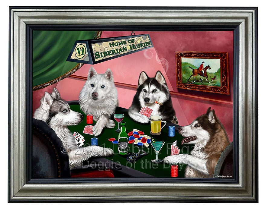 Home of Siberian Husky 4 Dogs Playing Poker Framed Canvas Print Wall Art