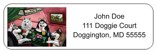 Home of Siberian Husky 4 Dogs Playing Poker Return Address Label