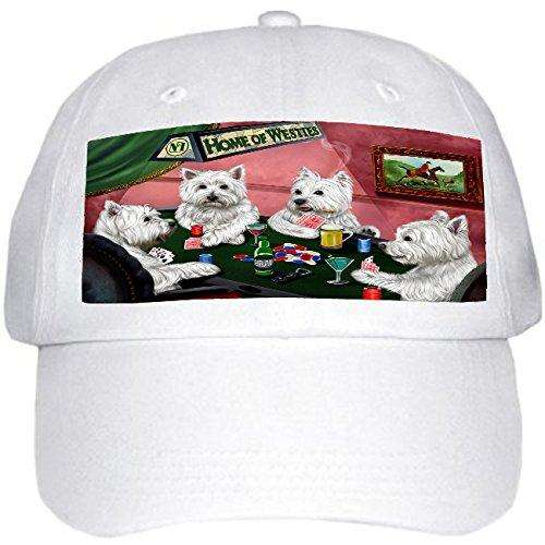 Home of West Highland White Terriers 4 Dogs Playing Poker Hat White