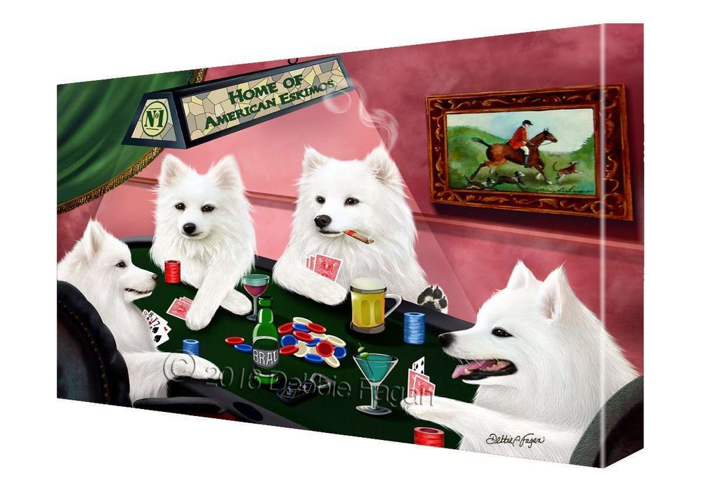 House of American Eskimo Dogs Playing Poker Canvas