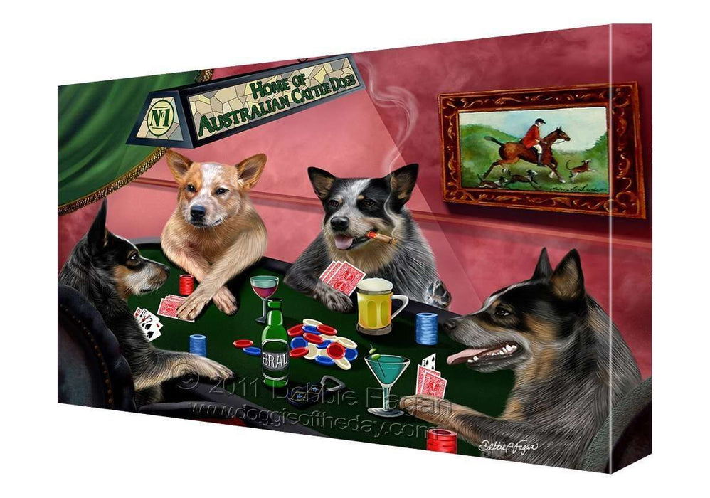House of Australian Cattle Dogs Playing Poker Canvas