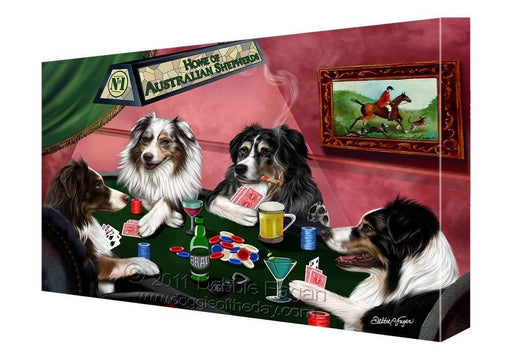 House of Australian Shepherd Dogs Playing Poker Canvas