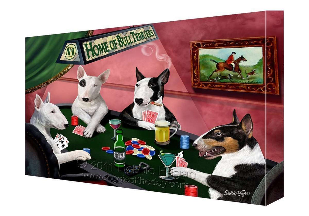 House of Bull Terriers Dogs Playing Poker Canvas