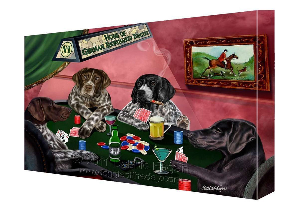 House of German Shorthaired Pointers Dogs Playing Poker Canvas