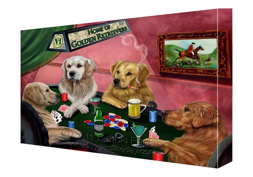 House of Golden Retrievers Dogs Playing Poker Canvas 16 x 20