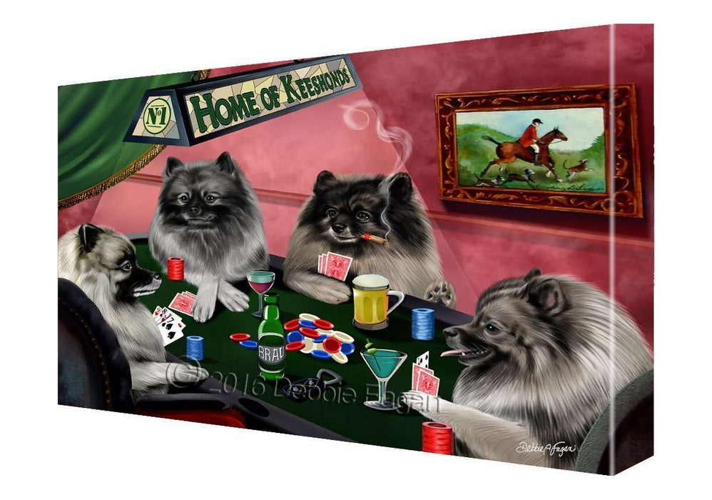 House of Keeshonds Dogs Playing Poker Canvas