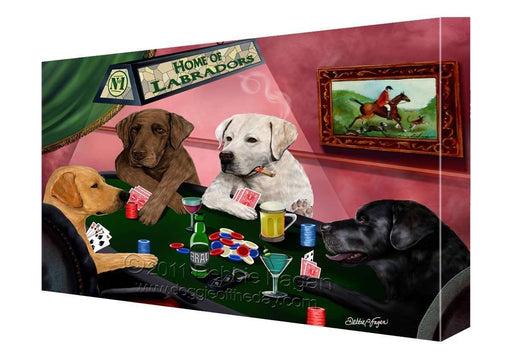 House of Labradors Dogs Playing Poker Canvas