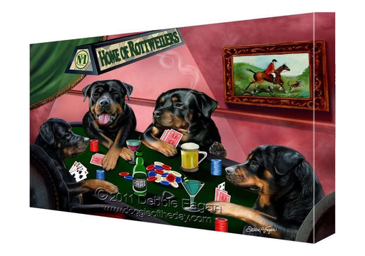 House of Rottweiler Dogs Playing Poker Canvas