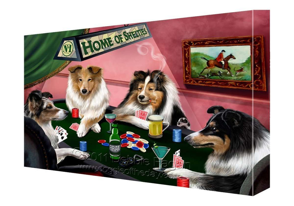 House of Shelties Dogs Playing Poker Canvas 11 x 14