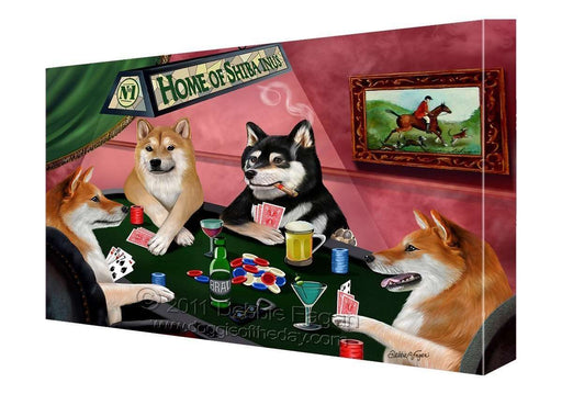 House of Shiba Inus Dogs Playing Poker Canvas