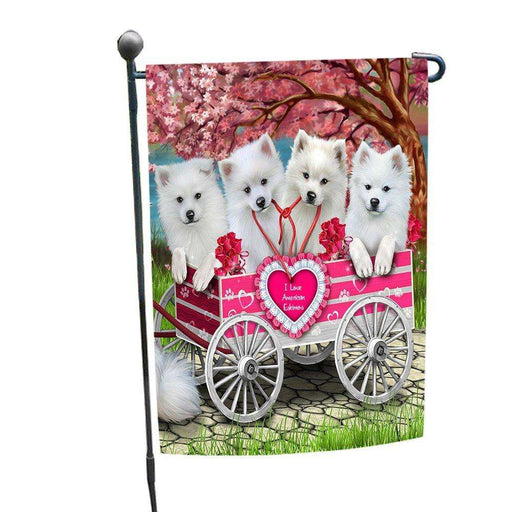 I Love American Eskimos Dogs in a Cart Garden Flag