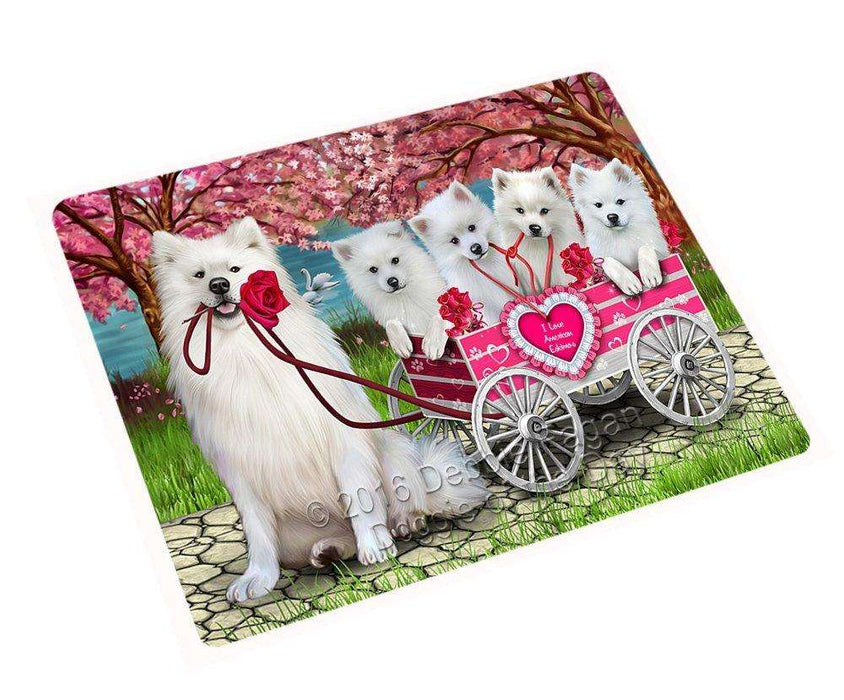 "I Love American Eskimos Dogs In A Cart Magnet Mini (3.5"" x 2"")"