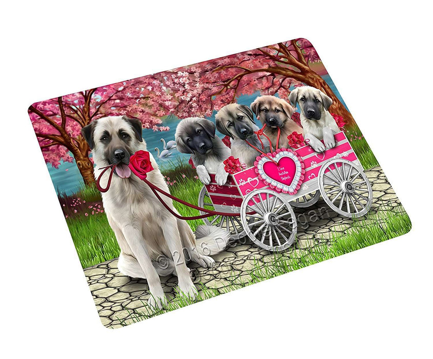 "I Love Anatolian Shepherd Dogs In A Cart Magnet Mini (3.5"" x 2"")"