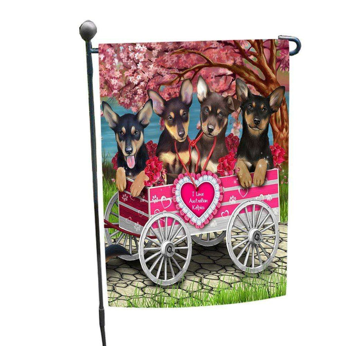 I Love Australian Kelpies Dogs in a Cart Garden Flag