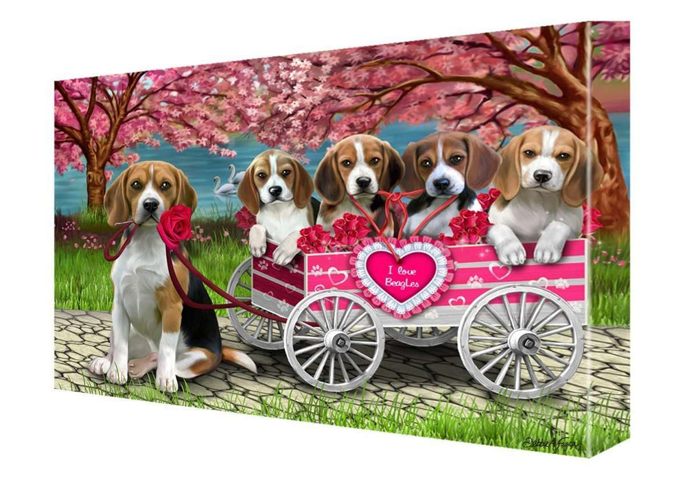 I Love Beagle Dogs in a Cart Canvas Wall Art Signed