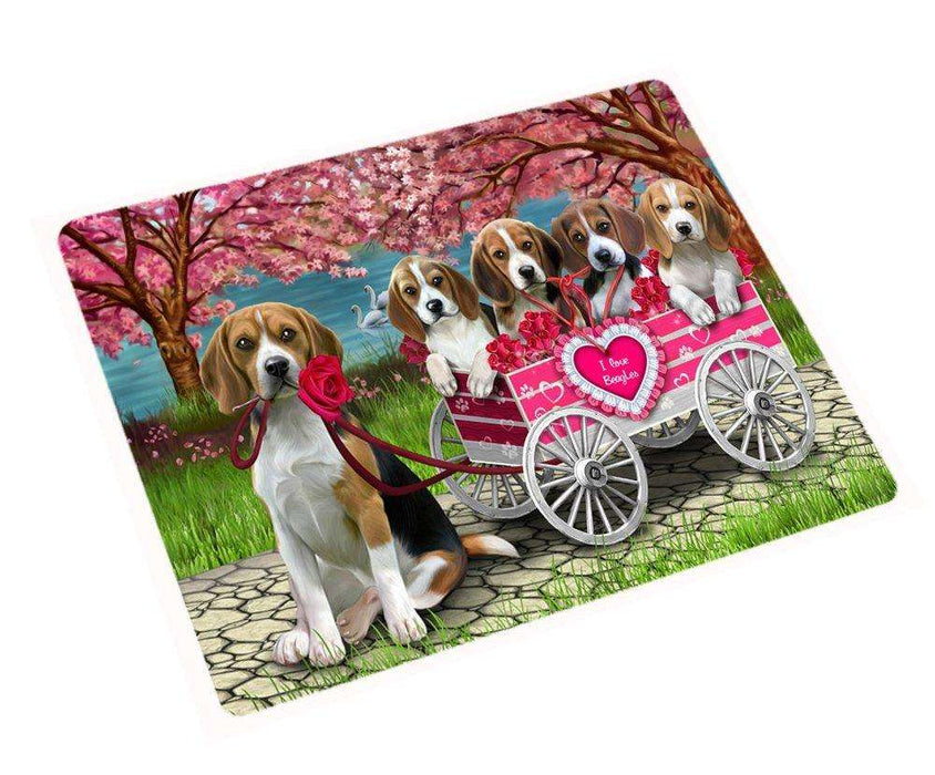 I Love Beagle Dogs in a Cart Magnet