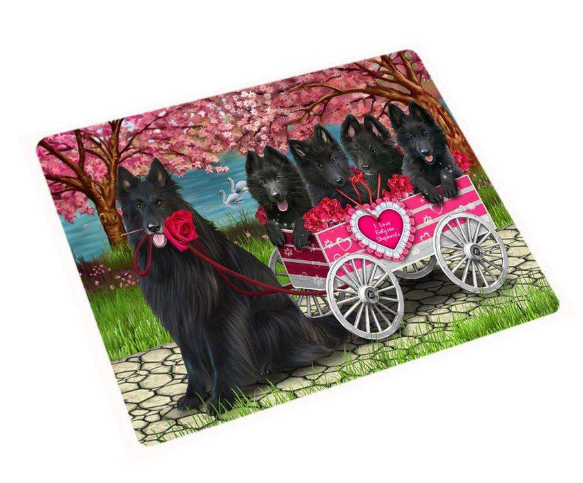 "I Love Belgian Shepherd Dogs In A Cart Magnet Mini (3.5"" x 2"")"
