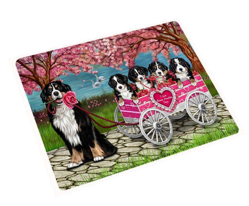 "I Love Bernese Mountain Dogs In A Cart Magnet Small (5.5"" x 4.25"") mg019"